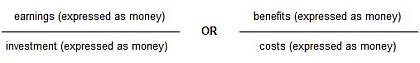 Basic ROI formula